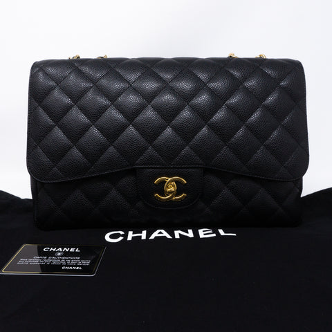 Classic Single Flap Jumbo Black Caviar Gold