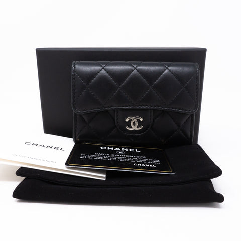 Classic Flap Card Case Black Lambskin