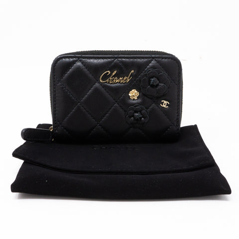 Camelia Zipped Coin Purse Black Leather