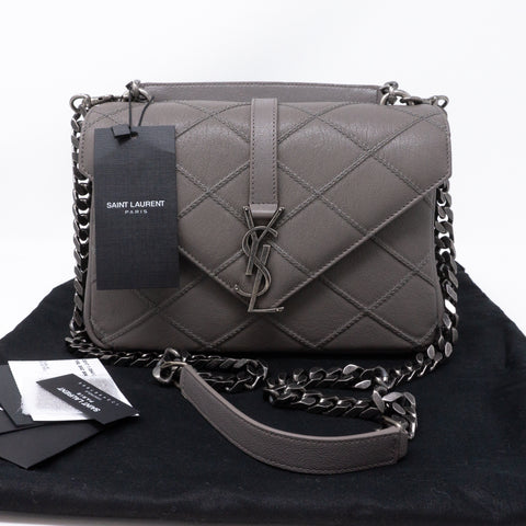 College Medium Diamond Quilted Leather Grey