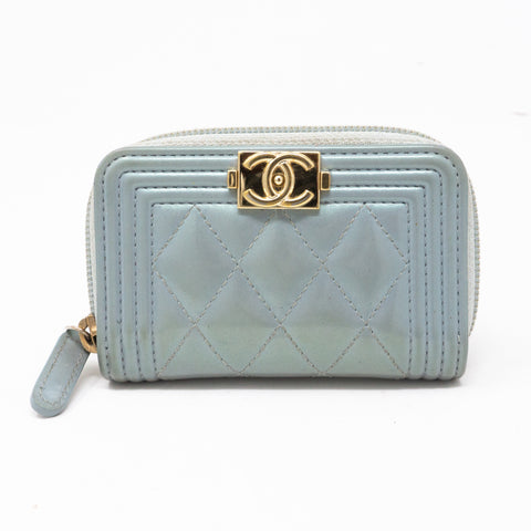 Zipped Coin Purse Iridescent Light Blue Leather