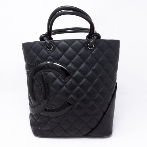 Cambon Small Tote Quilted Leather Black
