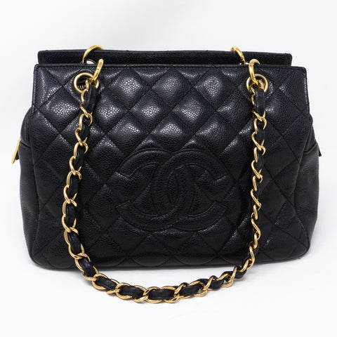 CC Quilted Shopping Tote Black Caviar
