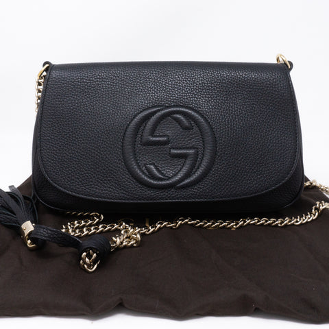 Soho Flap Chain Tassel Bag Black Leather