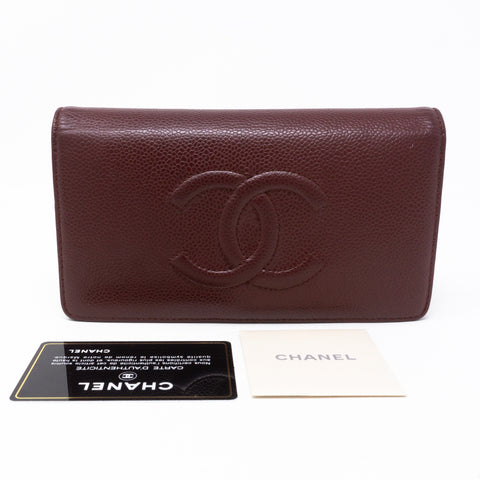 Classic Long Wallet Burgundy Caviar