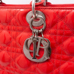 Lady Dior Large Coral Patent Leather