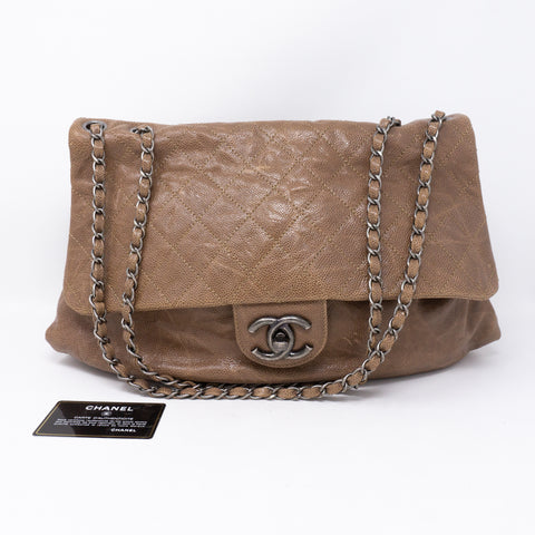 Quilted Glazed Caviar Leather Large Flap Bag