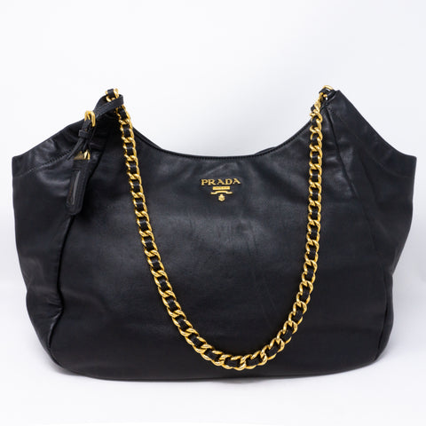 Soft Chain Tote Black Leather