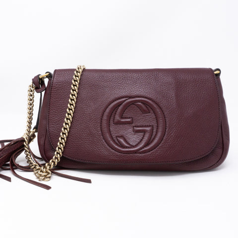 Soho Flap Chain Bag Burgundy Leather