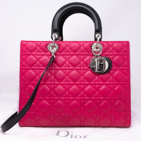 Lady Dior Large Pink Tricolor Leather