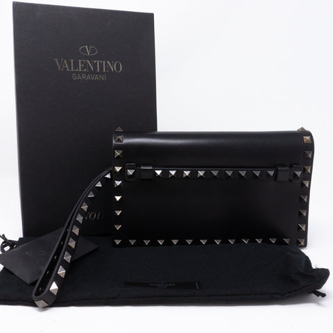 Rockstud Bracelet Flap Clutch Black
