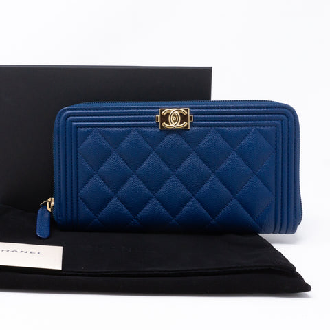 Boy Chanel Zip Around Wallet Blue Caviar
