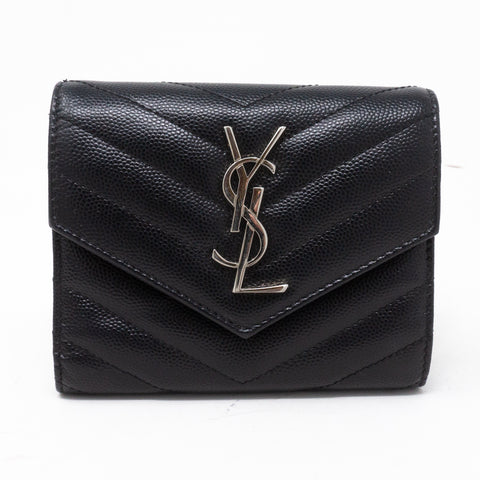 Compact Flap Wallet Black Leather