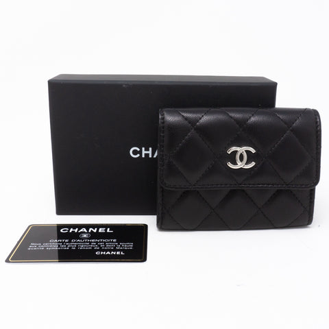 Classic Flap Card Case Large Black Lambskin