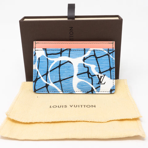 Card Holder Epi Leather Aqua Blue