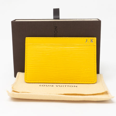 Card Holder Epi Leather Yellow