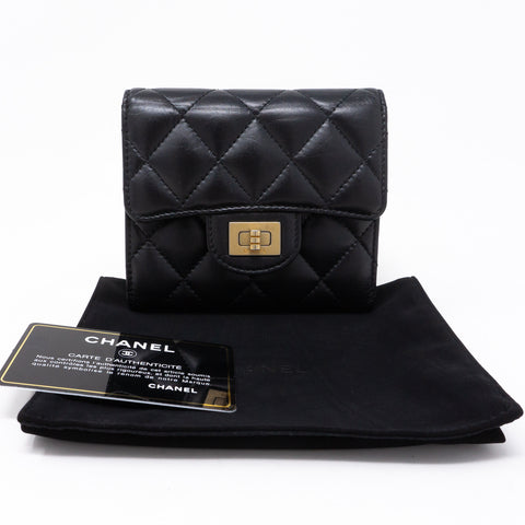 Small Classic Flap Wallet 2.55 Black Leather