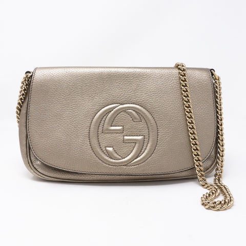 Soho Flap Chain Bag Champagne Leather