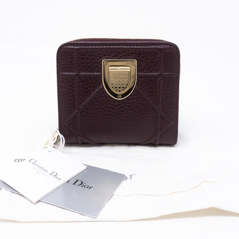 Diorama Compact Wallet Burgundy Leather