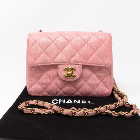 Classic Single Flap Mini Square Pink Caviar