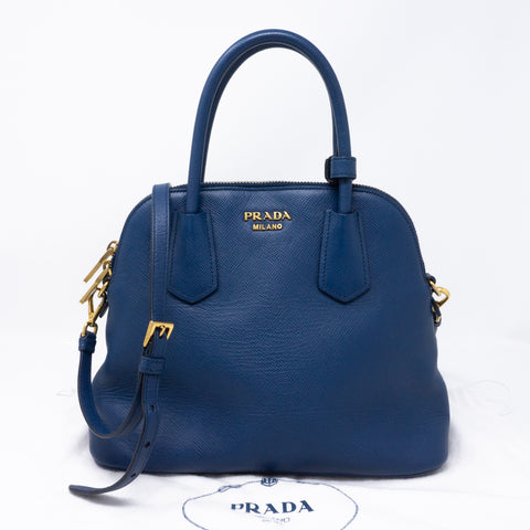 Small Crossbody Handbag Blue Saffiano Leather