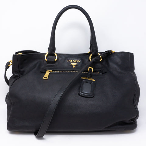 Large Shopping Tote Black Leather