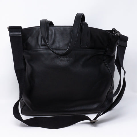 Crossbody Canvas Strap Bag Black Leather