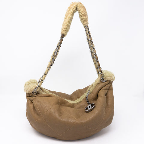 Chain Shoulder Bag Beige Wool