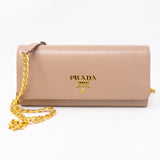 Wallet on Chain Beige Leather