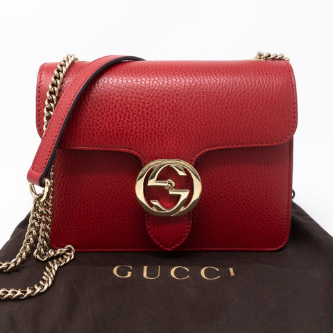 Interlocking GG Flap Small Bag Red Leather