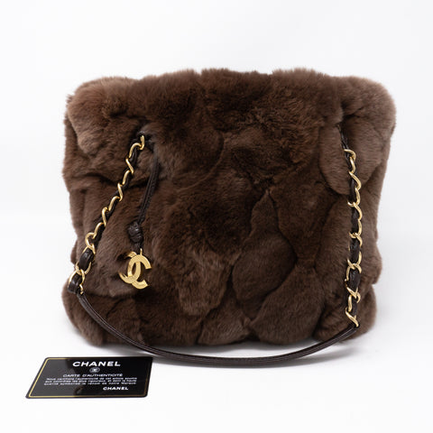 Chain Tote Bag Brown Fur