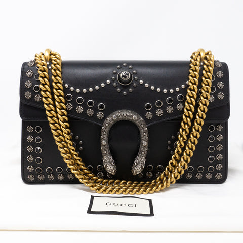 Dionysus Small Studded Black Leather
