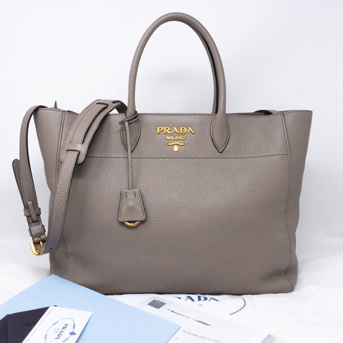 Large Tote Clay Gray Leather