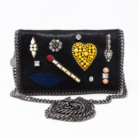 Falabella Small Crossbody Embellished Black