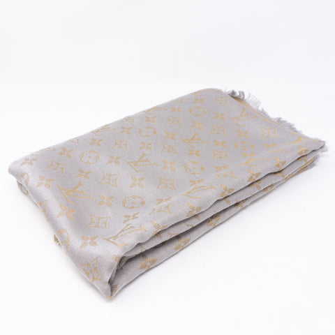 Monogram Shine Shawl Greige Gold