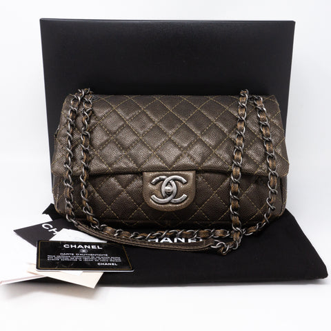 Easy Flap Bag Metallic Caviar Bronze
