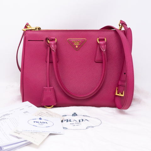 Galleria Small Double Zip Pink Saffiano
