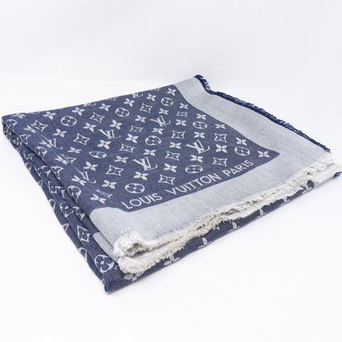 Monogram Denim Shawl Blue