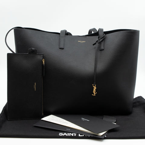 Shopping Tote Bag Black Leather