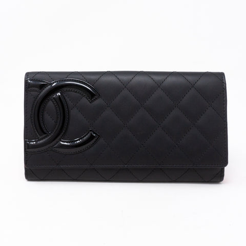 Cambon Long Bifold Wallet Black Leather