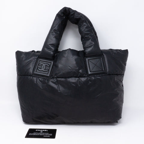 Coco Cocoon Black Quilted Nylon Tote