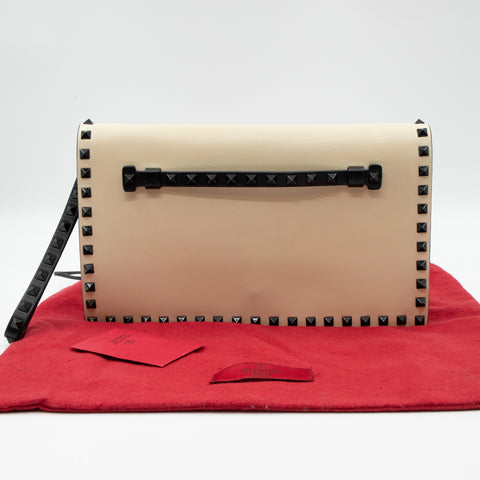 White Nappa Leather Rockstud Clutch