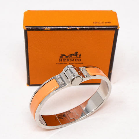 Enamel Hinged Bracelet Orange Silver