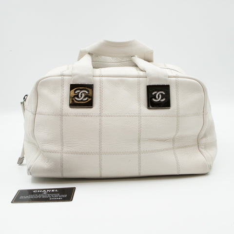 Boston Bag Quilted White Leather