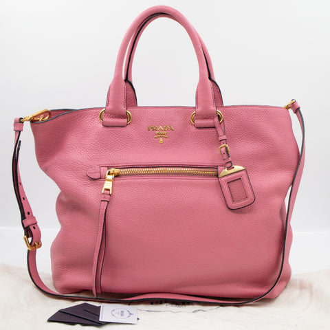 Large Shopping Tote Pink Leather