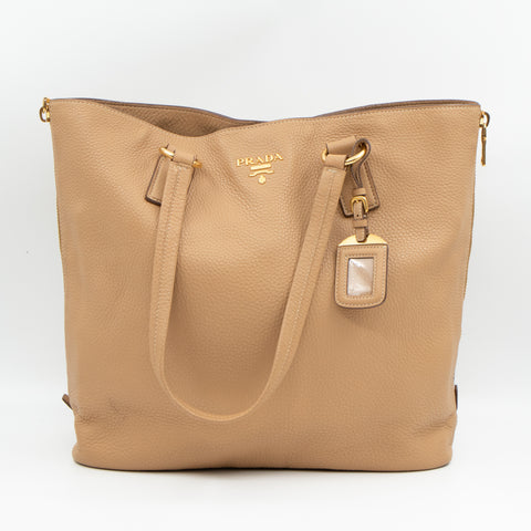 Large Shopping Tote Beige Leather