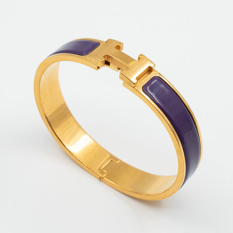 Clic H Bracelet Narrow Purple Gold
