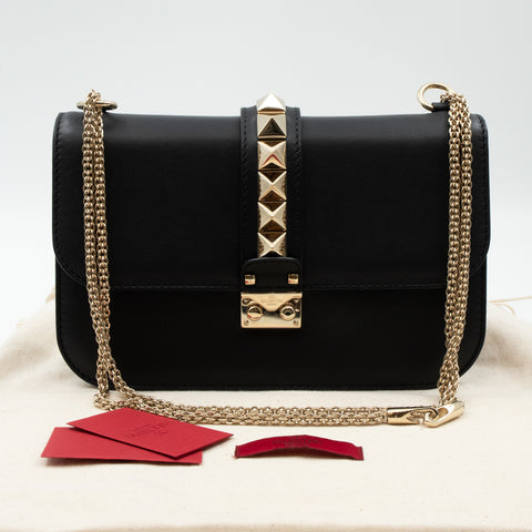 Medium Glam Lock Rockstud Flap Bag Black