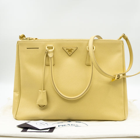 Galleria Large Double Zip Yellow Saffiano