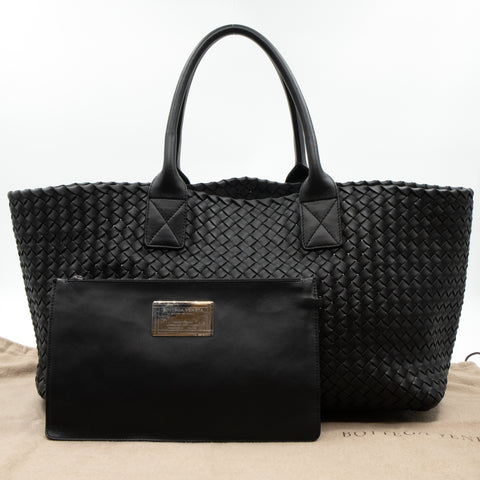 Intrecciato Cabat Tote Large Black Leather